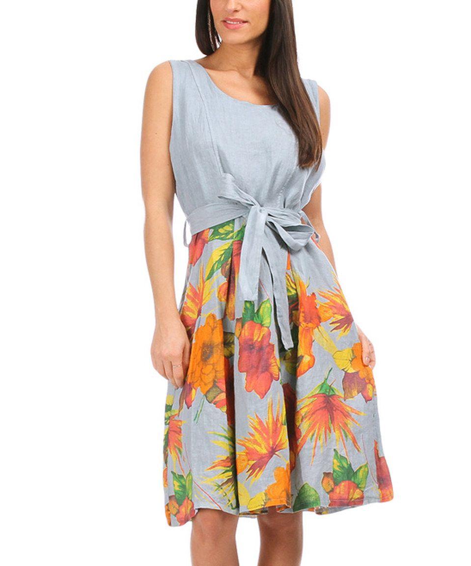 Look what I found on #zulily! Sky & Orange Tie-Waist Linen A-Line Dress - Women by 100% LIN BLANC #zulilyfinds