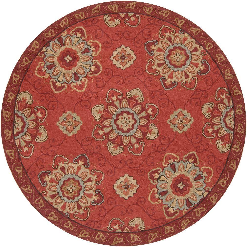 Artistic weavers palacio burgundy 8 ft round area rug