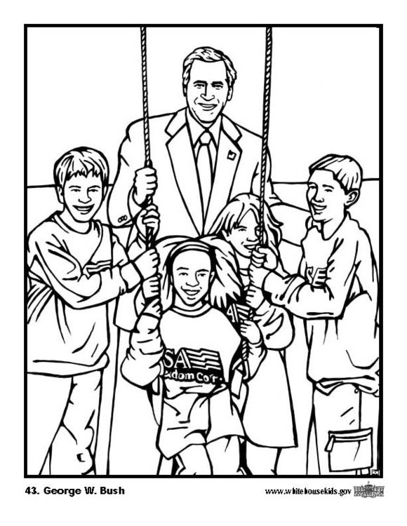 Coloring Page 43 George W Bush Coloring Pages Free Coloring