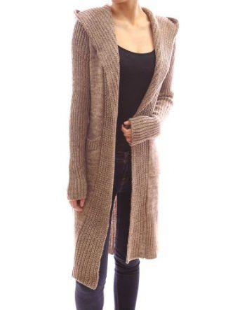 Amazon.com: Patty Women Hooded Long Sleeve Pockets Belt Knit Open ...