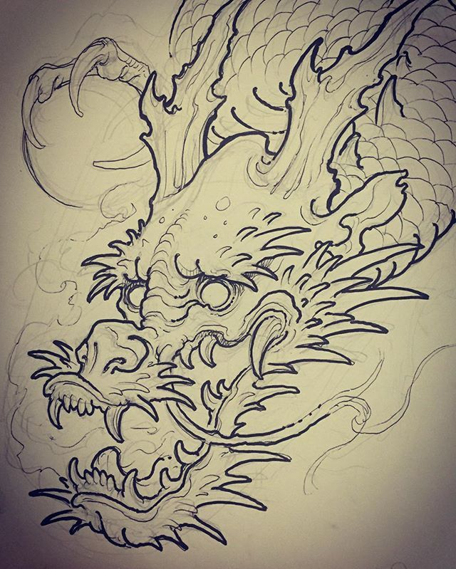 Part of a dragon for today i 39 m going to draw the rest on the skin for proper flow thanks for - Dessin dragon japonais ...