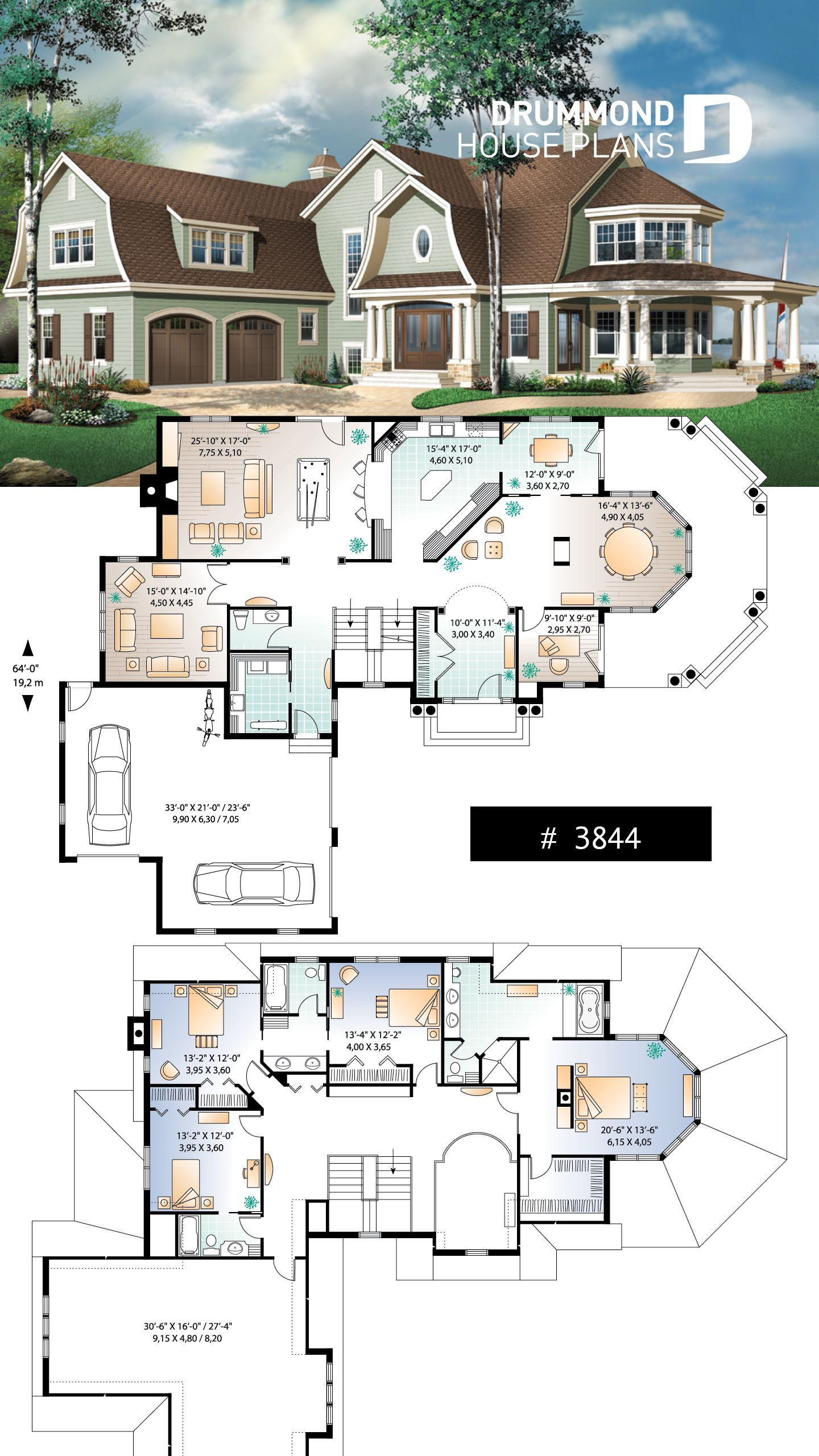 Lakefront Hampton Style Home Plan House Plans Drummond House Plans Sims House Design