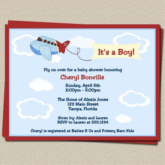 airplane baby shower invitations, boys, blue, sky, flying, plane, Baby shower invitations
