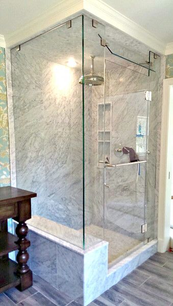 Frameless Corner Shower Enclosure With Hinged Door And Three Fixed