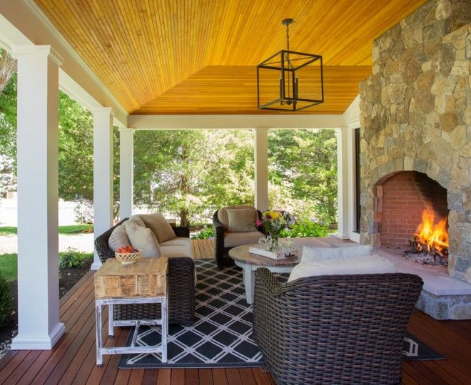 Cool Outside Fireplace Vogue Boston Farmhouse Porch Inspiration With Colonial Covered Farmers Historic Lynnfield Modern