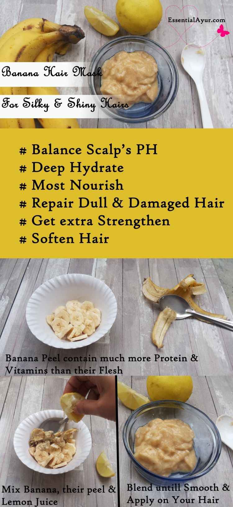 Diy Banana Hair Mask For Super Shiny And Silky Smooth Hairs Essential Ayur The Ved Of Life Banana For Hair Banana Hair Mask Hair Mask
