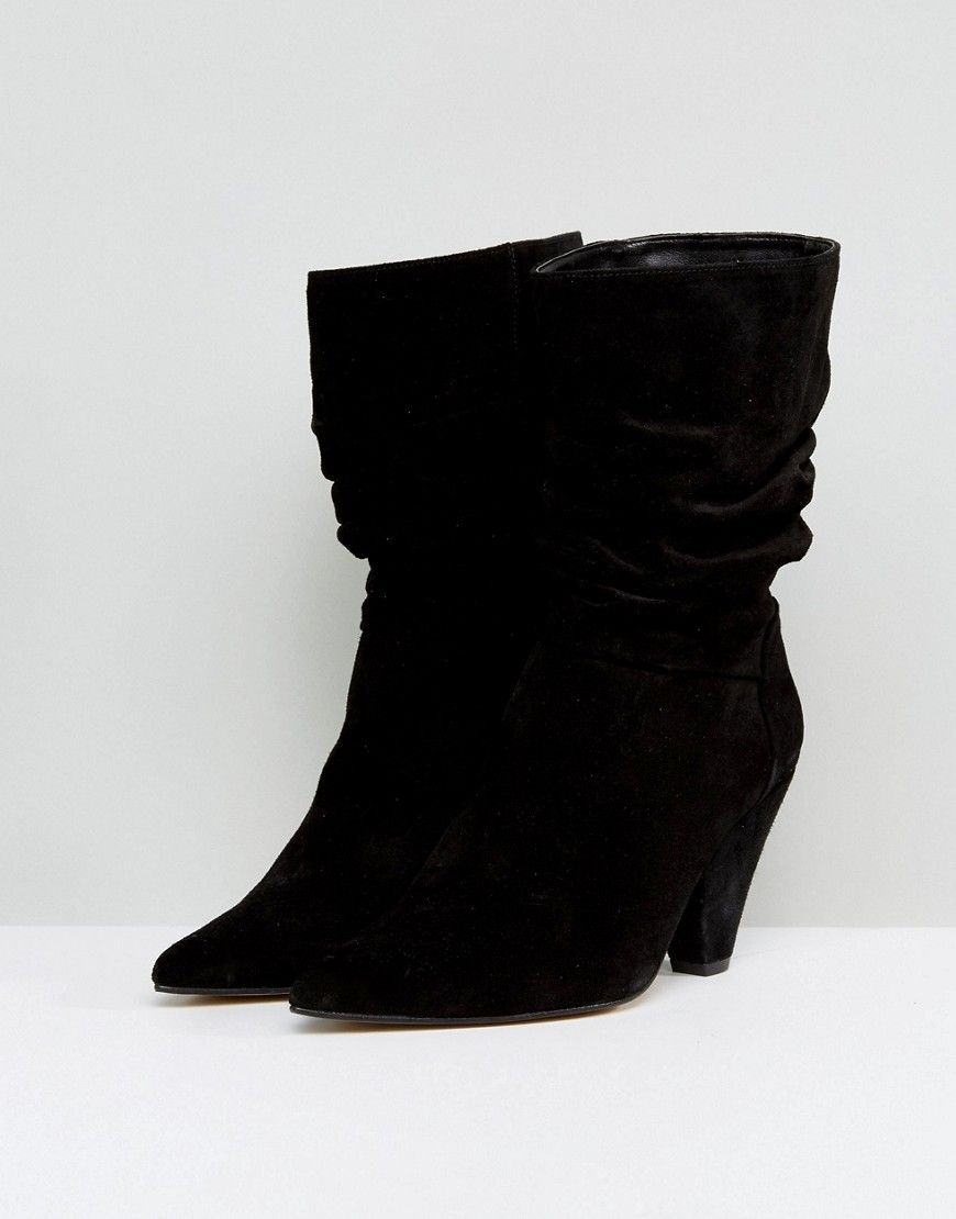 ASOS CIANNA Wide Fit Suede Slouch Cone Heel Boots KLYeDnCR