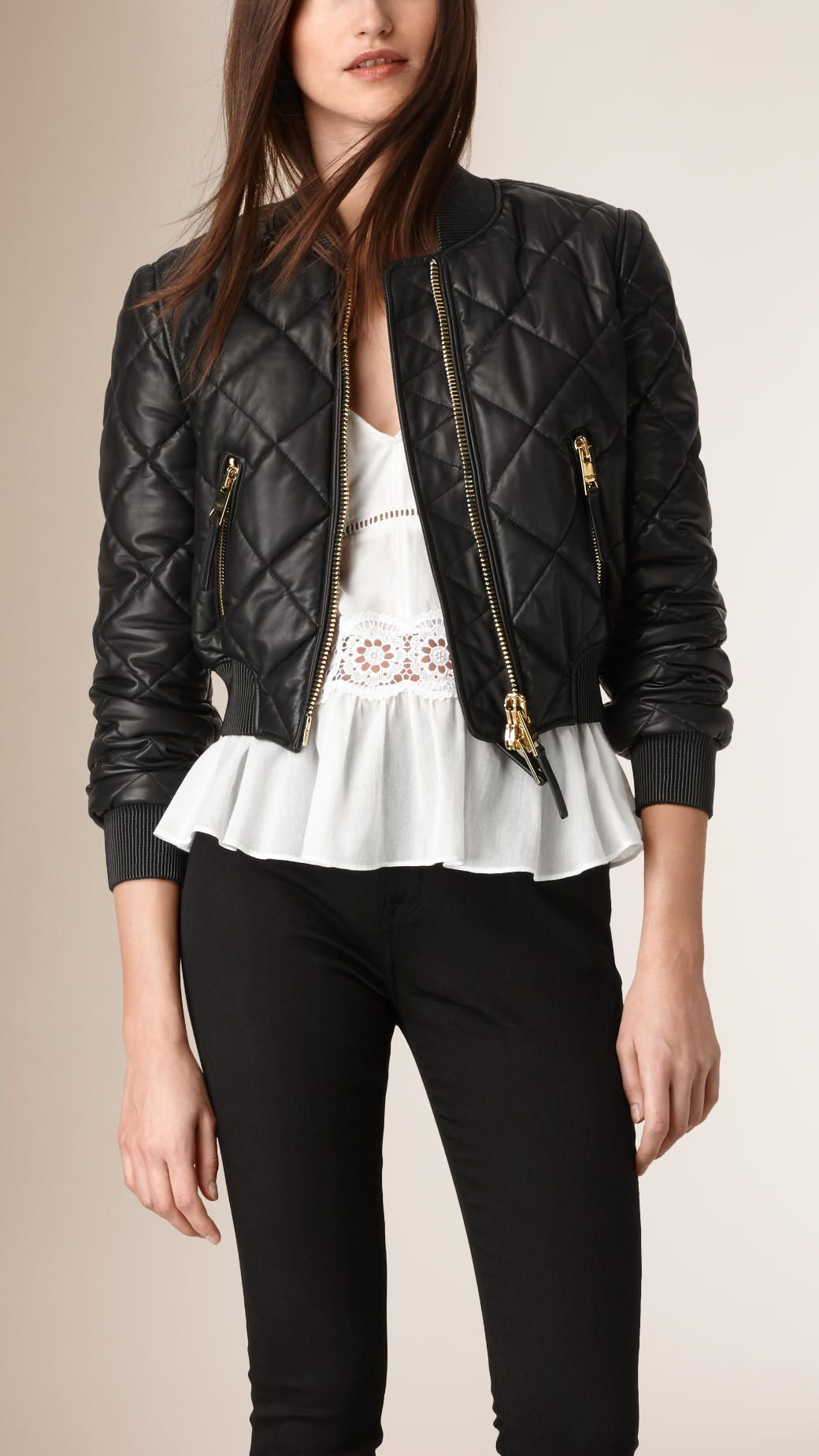 Cropped Quilted Lambskin Bomber Jacket | Burberry | Bomber/Varsity ... : quilted cropped jacket - Adamdwight.com