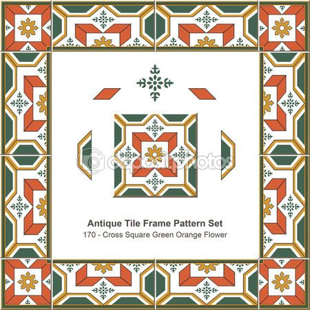 Antique tile frame pattern set_170 Cross Square Green Orange Flower