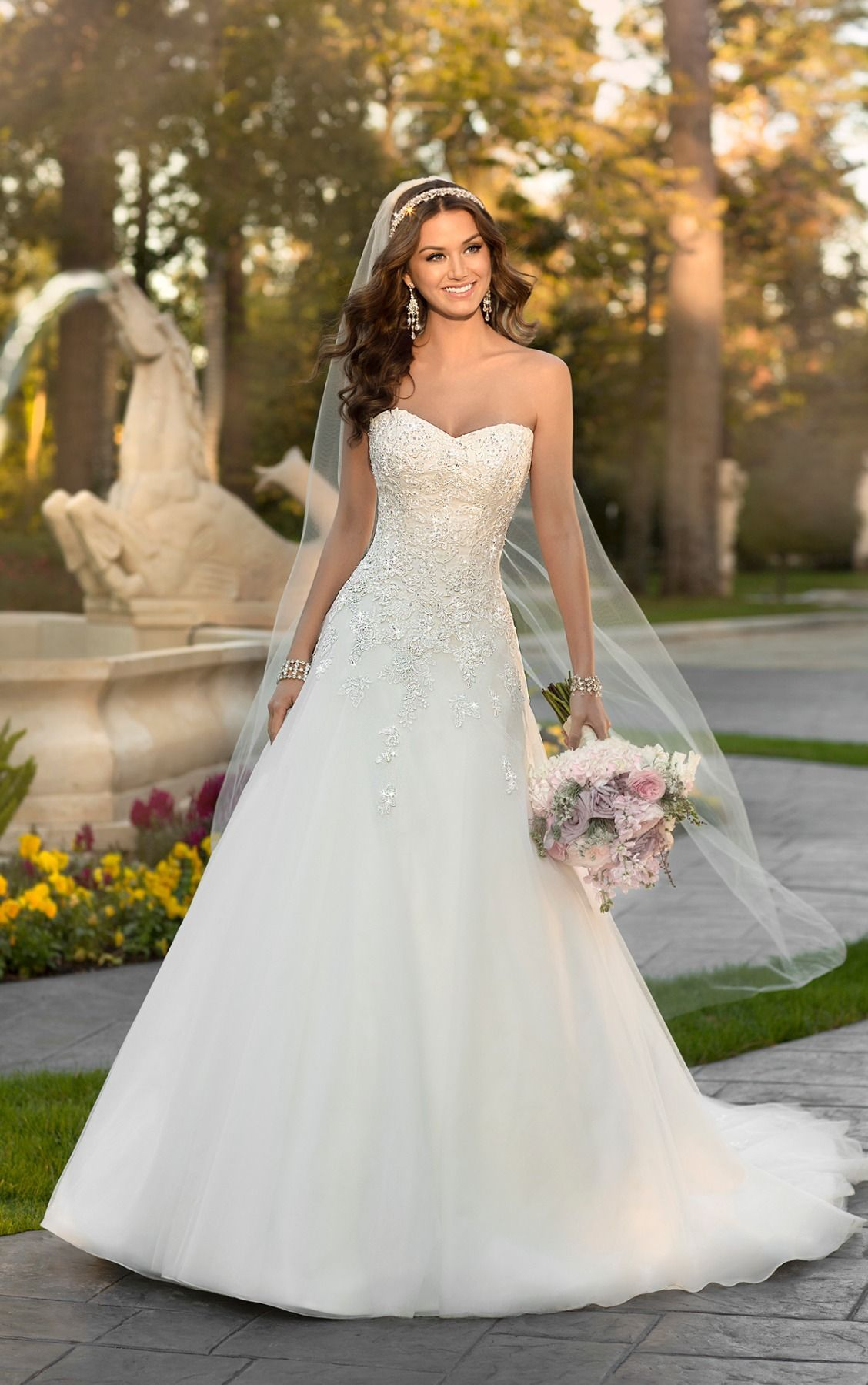 Lace and organza over dolce satin aline wedding dress from the