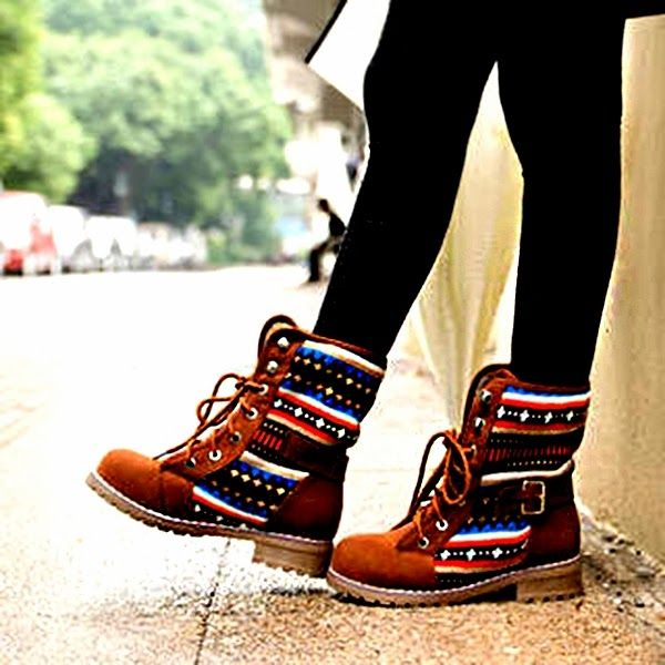 Tribal Print Belted Ladies Fall Boots. These are so cool!!