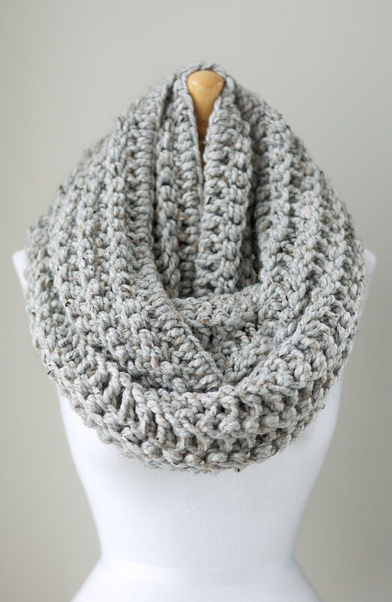 Oversized knit scarf, oversized chunky infinity scarf in Marble Gray ...