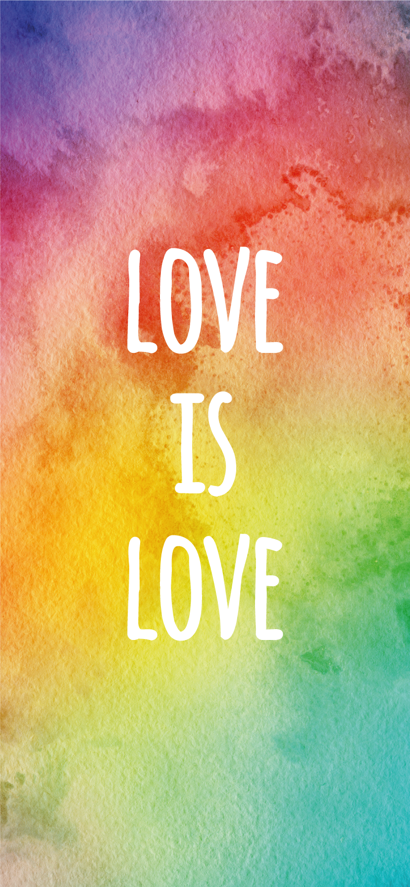 Love Is Love LGBTQ+ Rainbow Watercolor iPhone Wallpaper Background
