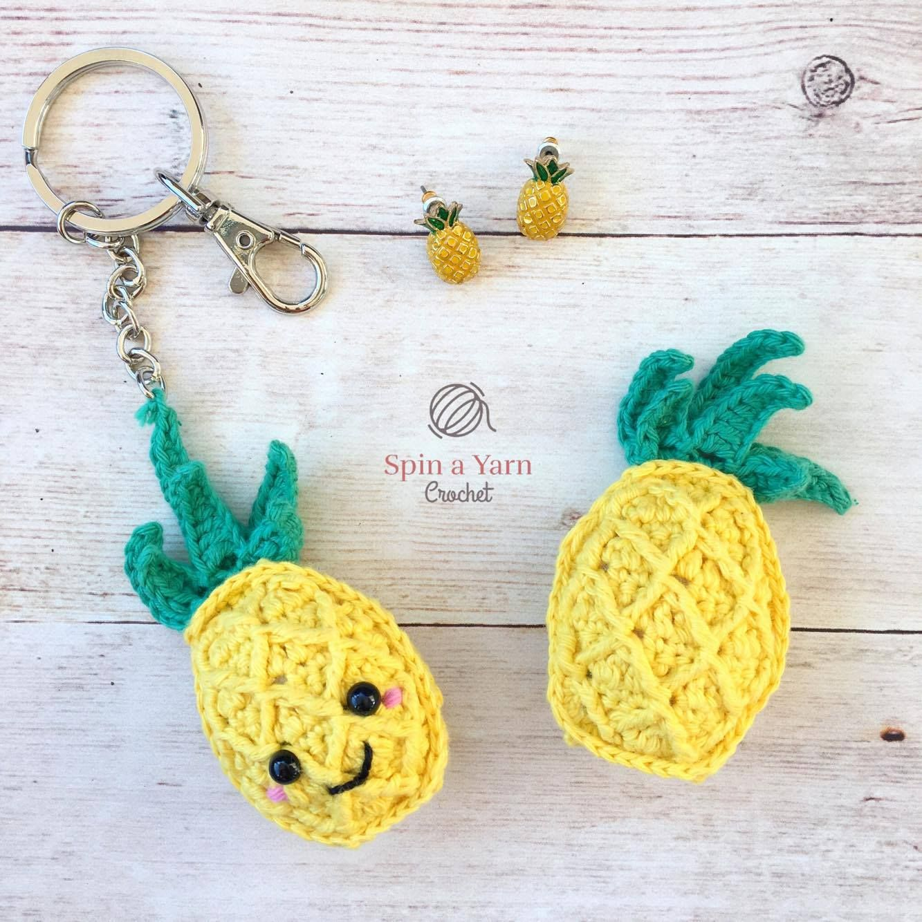Pineapple Keychain - Free Crochet Pattern at Spin A Yarn Crochet ...