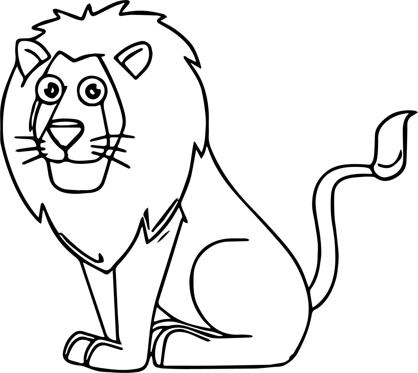 Lion Sitting Cartoon Animal Kingdom Coloring Page Lion Coloring Pages Animal Coloring Pages Lion Coloring