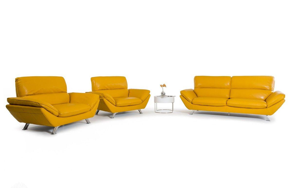 Divani Casa Daffodil Modern Yellow Italian Leather Sofa