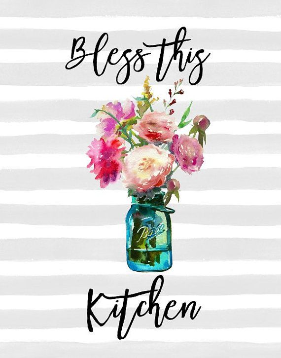 bless this kitchen printable art kitchen decor farmhouse decor kitchen wall art mason jar on farmhouse kitchen quotes free printable id=38540
