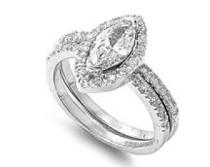 Marquise 925 Sterling Silver Simulated Diamond Engagement Ring