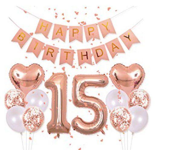 Rose Gold 15th Birthday Happy Party Balloons Supplies Foil Balloon Number