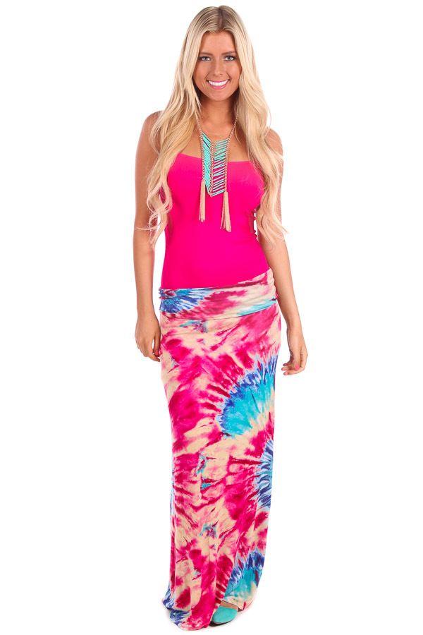 baf6471d3 Lime Lush Boutique - Multi Color Tie Dye Print Maxi Skirt, $32.99 (http: