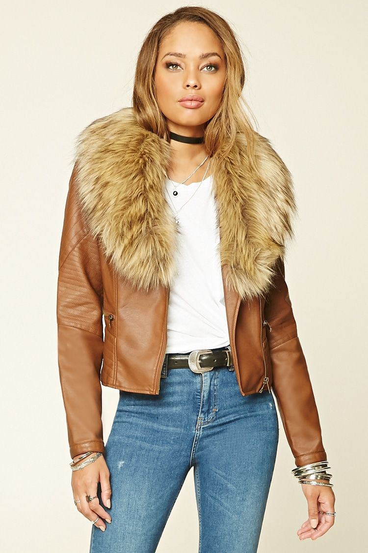 A faux leather moto jacket featuring removable fauxfur