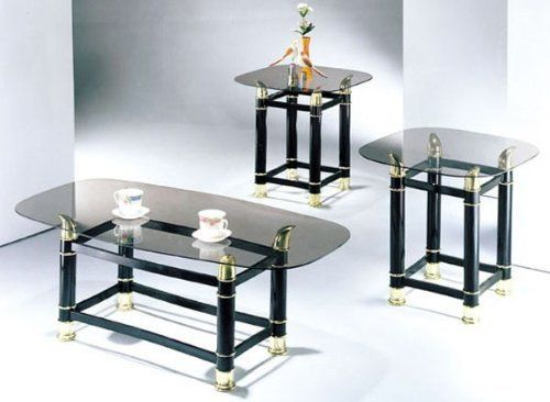 3 Piece Pack 2 Tube Black Finish Horn Coffee End Table Set We