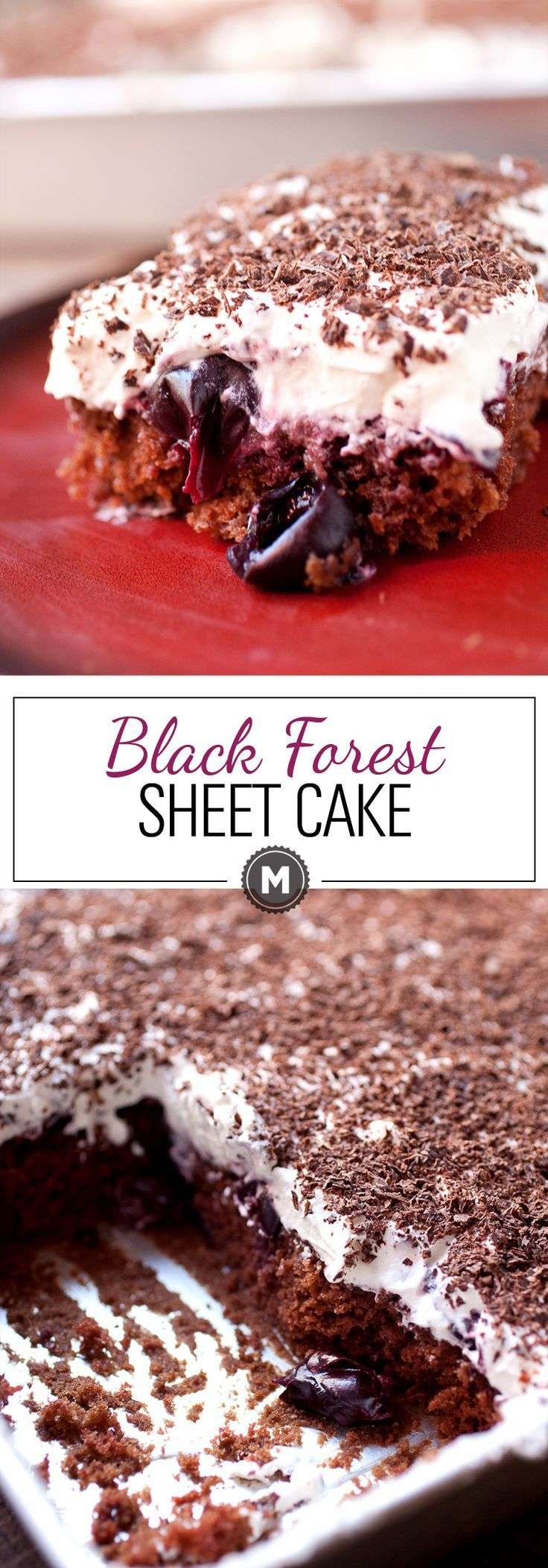 Black Forest Sheet Cake: Rich (but easy to make) chocolate sheet cake topped with loads of sweet cherries, whipped cream, and shaved chocolate. The nice thing about sheet cake is you can cut as big of a piece as you want! | macheesmo.com