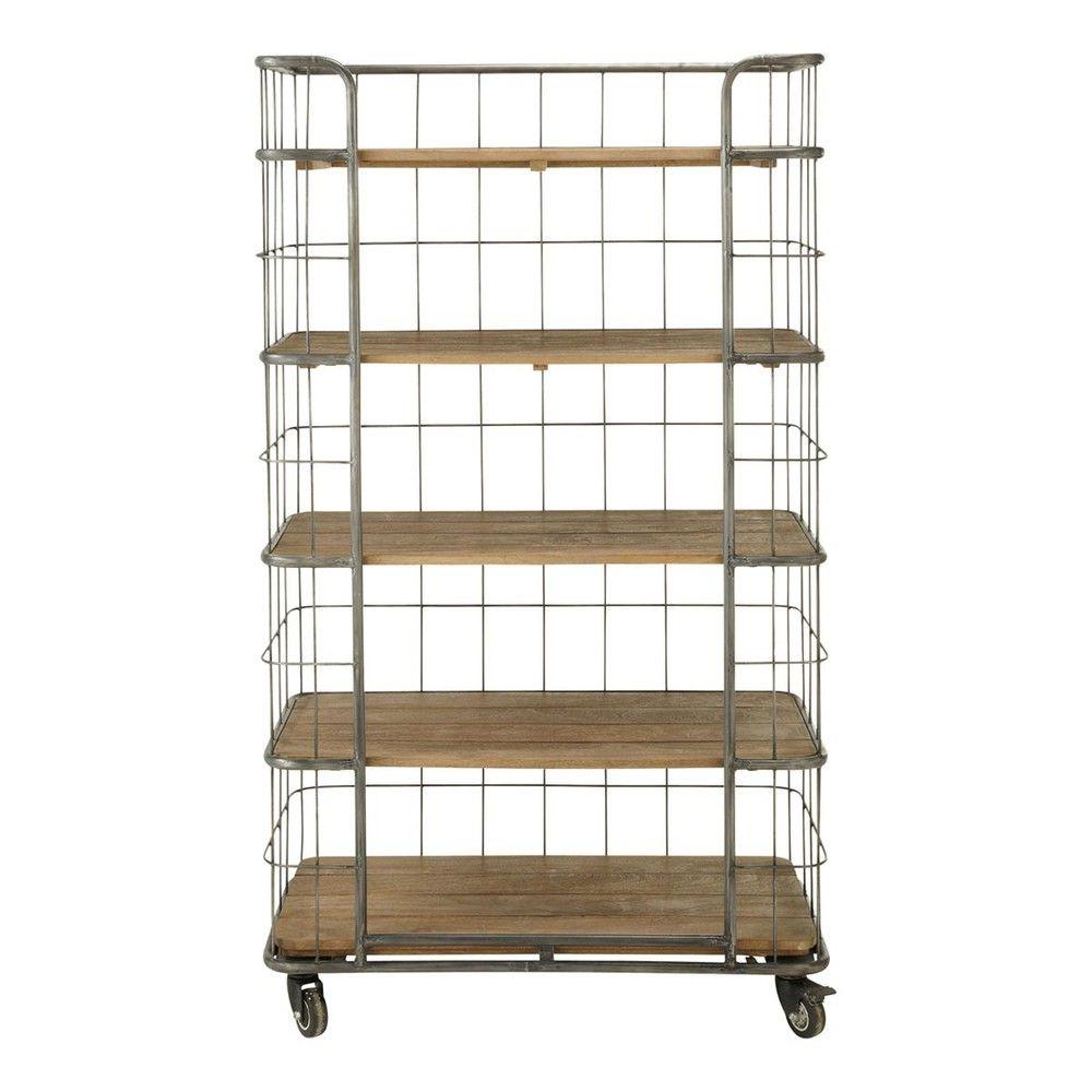 Metal And Mango Wood Industrial Style Shelf Unit On Castors