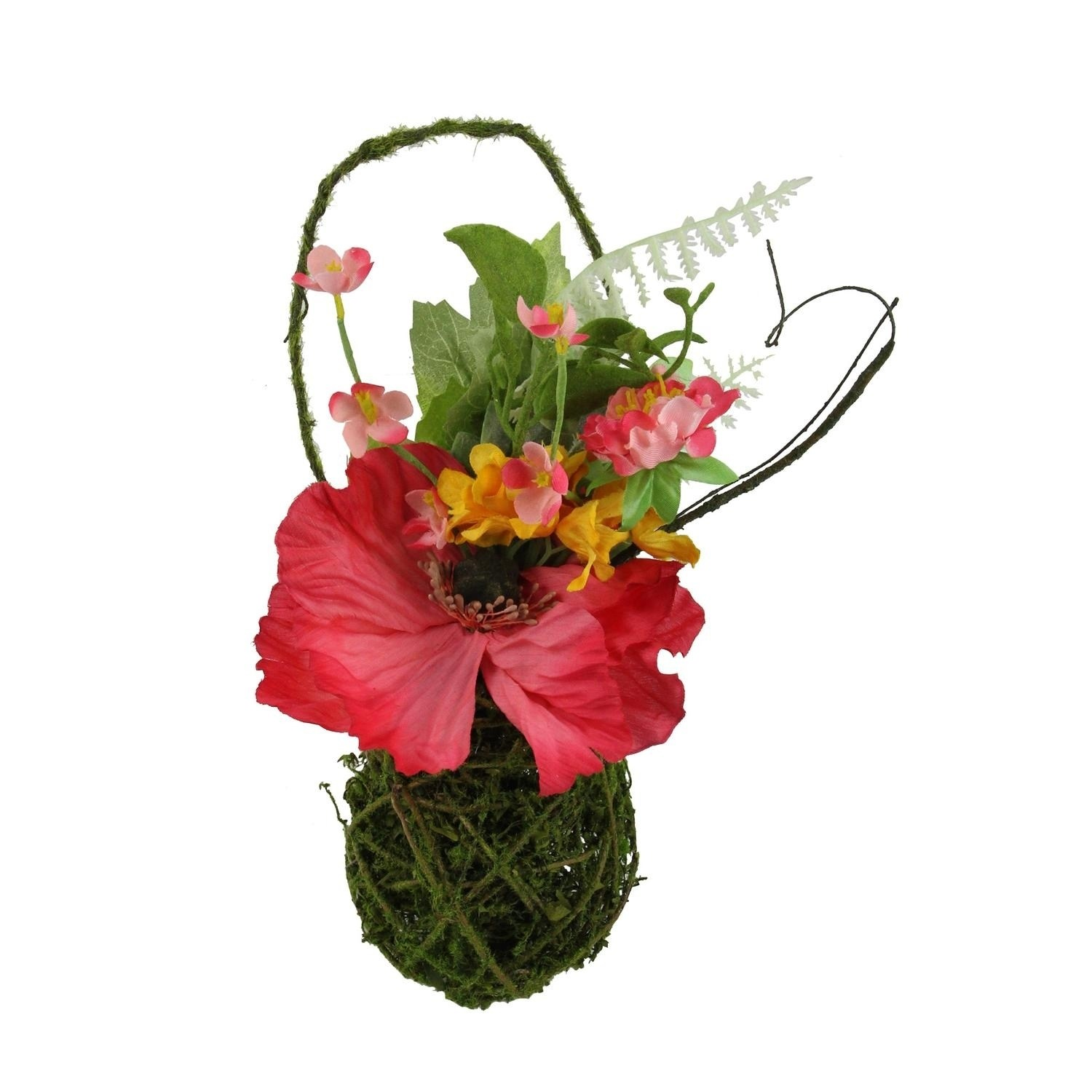 """12"""" Decorative Red Poppy and Orange Wildflower Artificial ... on Decorative Wall Sconces For Flowers Hanging Baskets Delivery id=97689"""