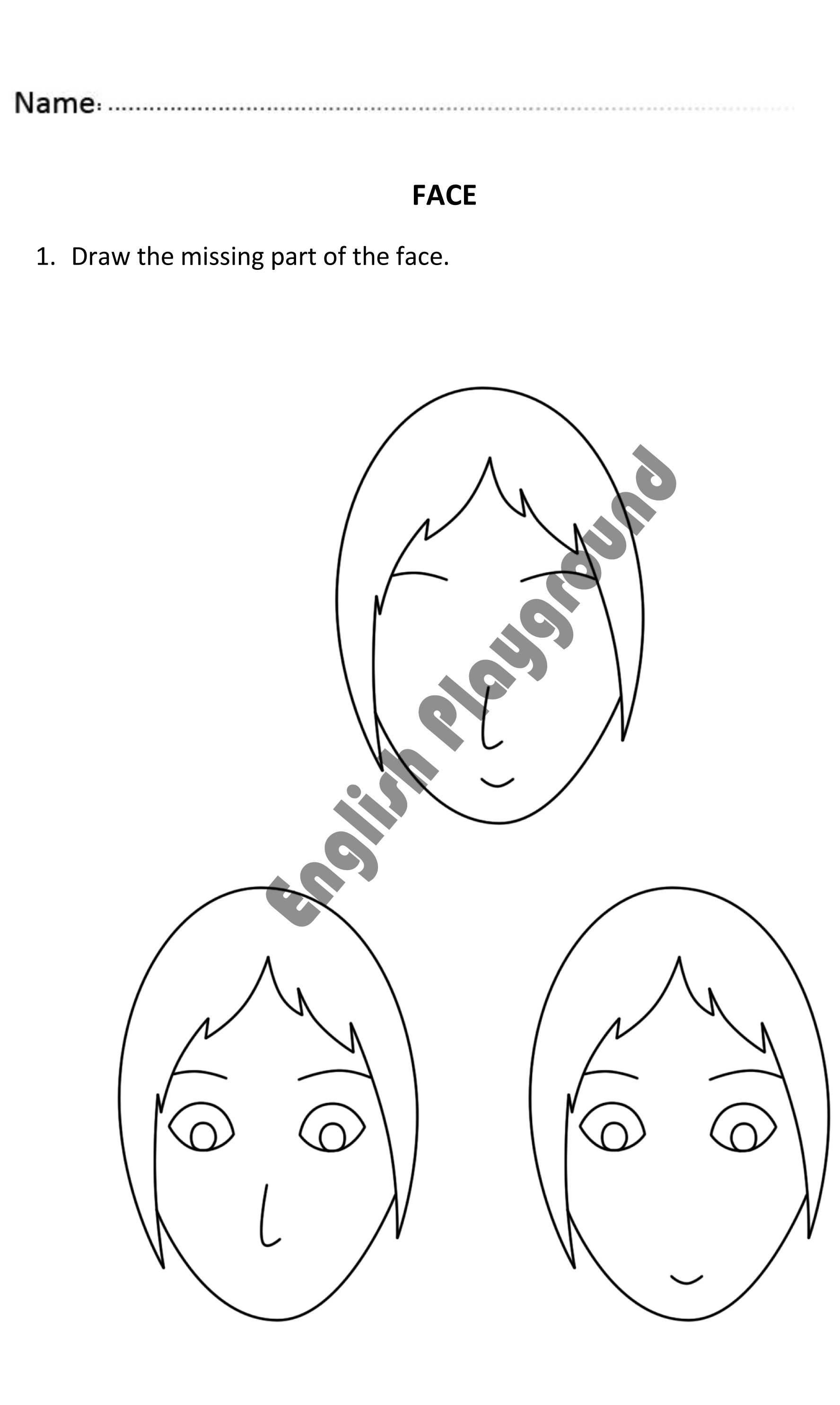 worksheet Parts Of Face Worksheet face drawing for nursery and reception students fun worksheet to teach parts learningface