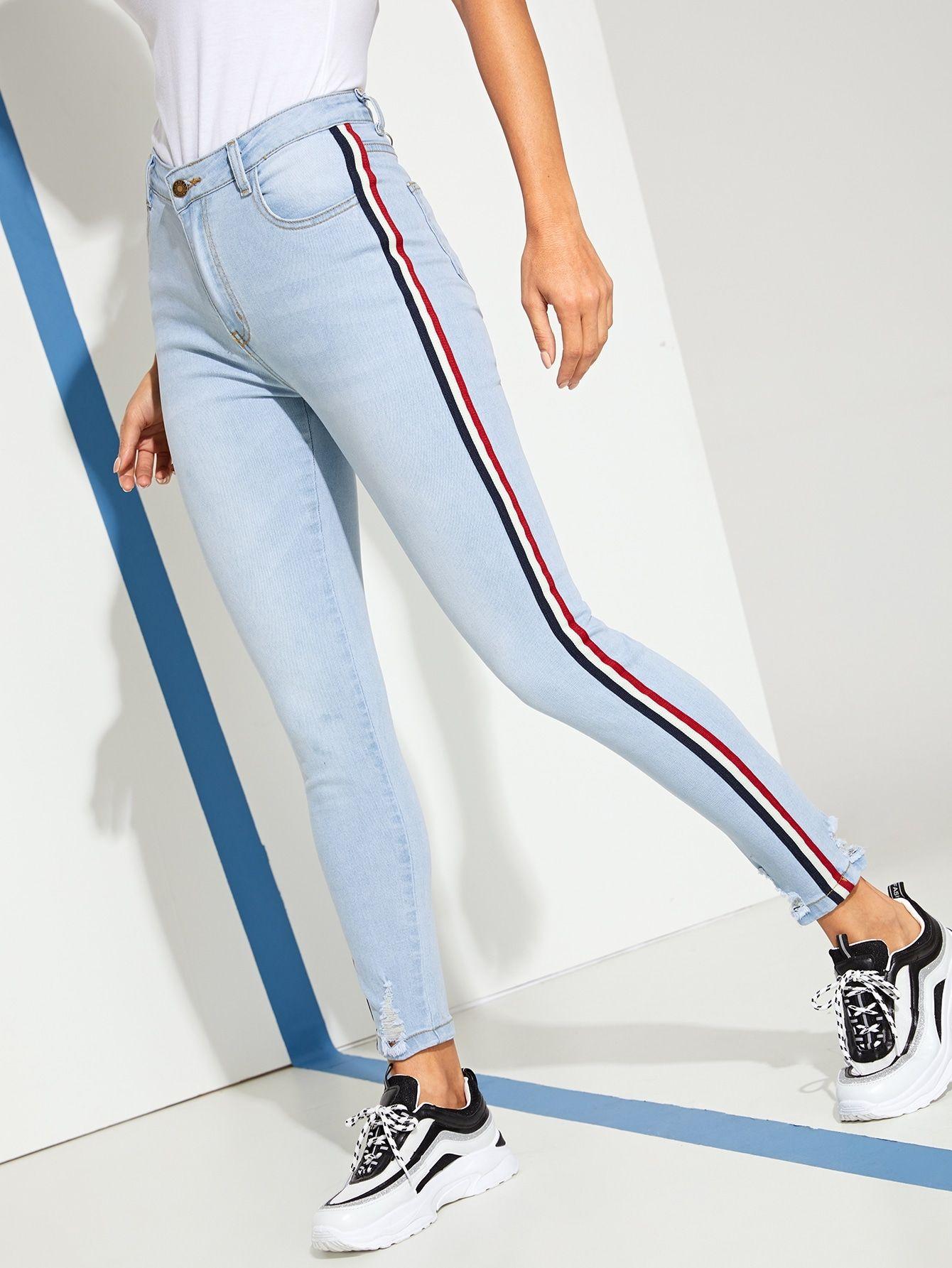 Ripped Tuxedo Stripe Side Skinny Jeans Ad Stripe Tuxedo Ripped Pantalones De Moda Ropa Adidas Jeans De Moda