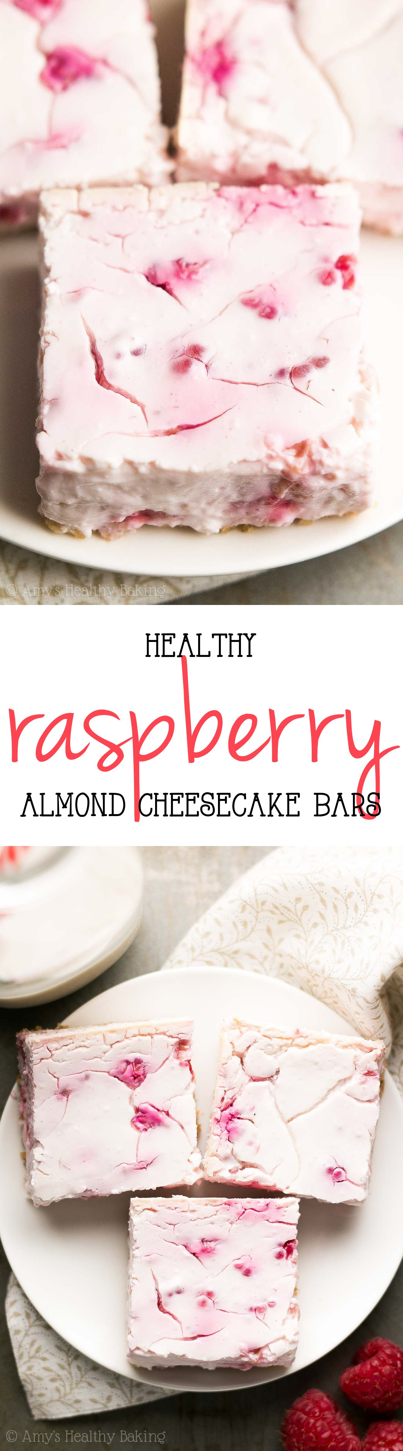 Healthy Raspberry Almond Cheesecake Bars -- no butter, oil, or sugar & only 68 calories! Sweet, creamy & positively amazing! ad
