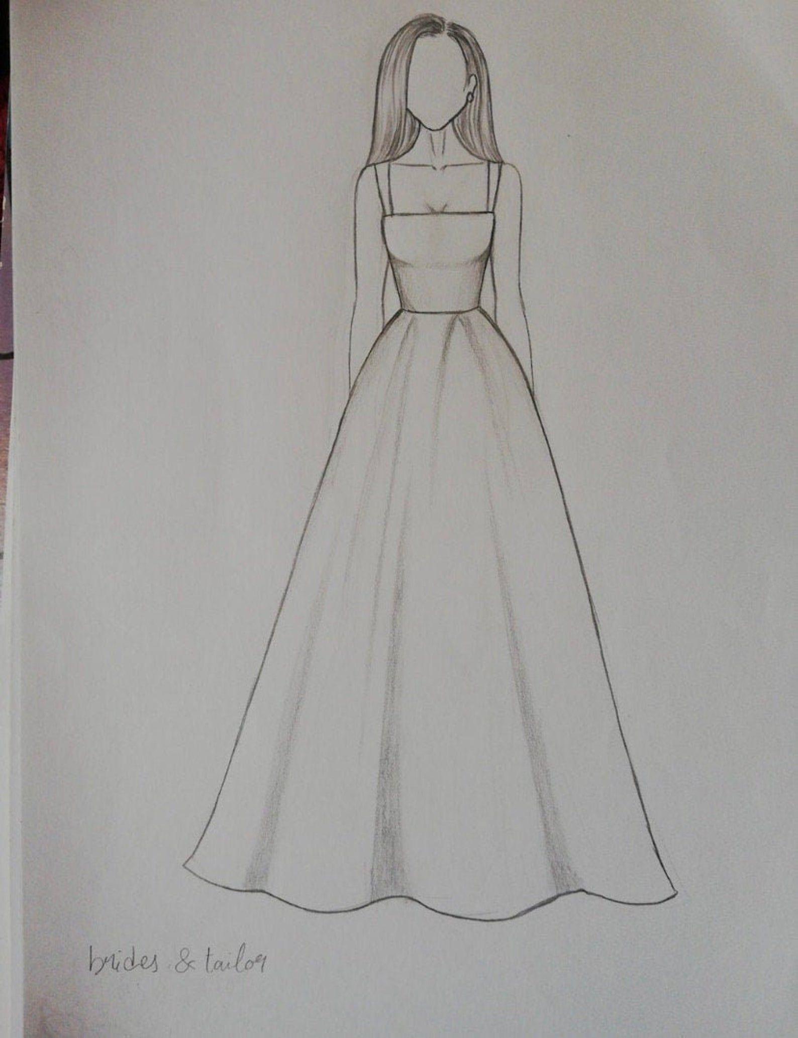 Photo of # Dresses Custom Modest wedding dress#custom #draw #dress #dresses #drawing mode…