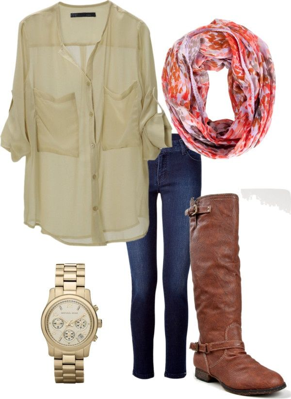 Sheer top, scarf, boots, skinnies