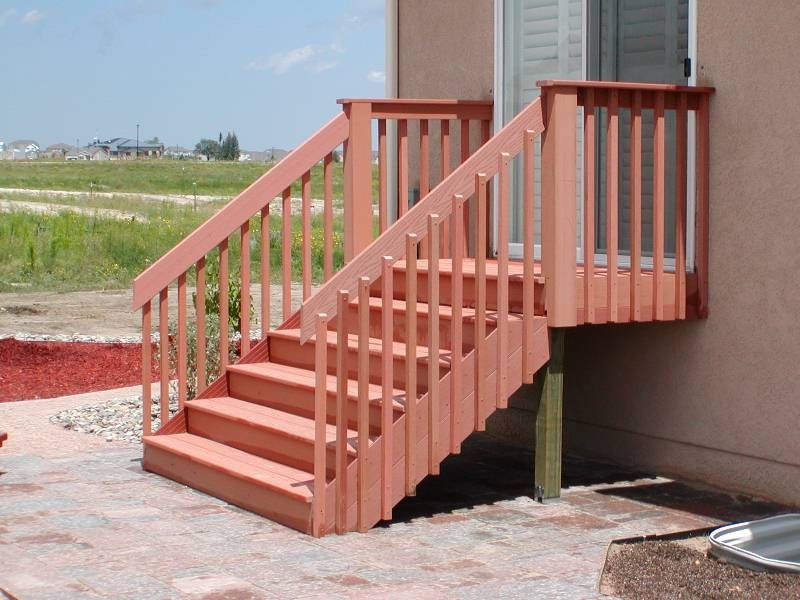 Deck Stair Design Composite Stairs Railing Redwood Color