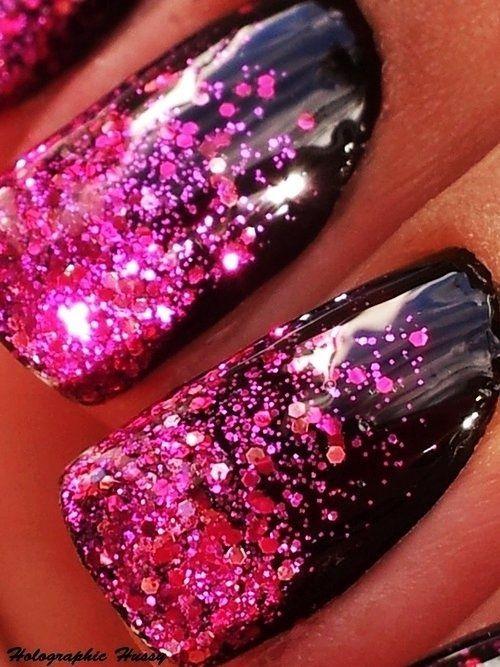 Nageldesign Ombre Nailart Schwarz Pink Glitter Nagel Pinterest