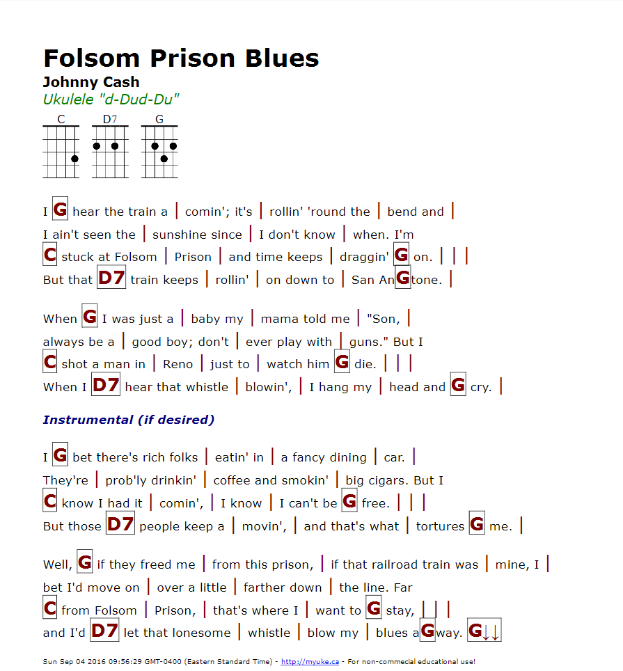 Folsom Prison Blues Johnny Cash Httpmyuke Music