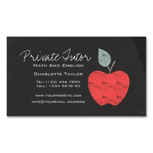 Private home tutor teacher apple chalkboard magnetic business card private home tutor teacher apple chalkboard magnetic business cards pack of 25 colourmoves