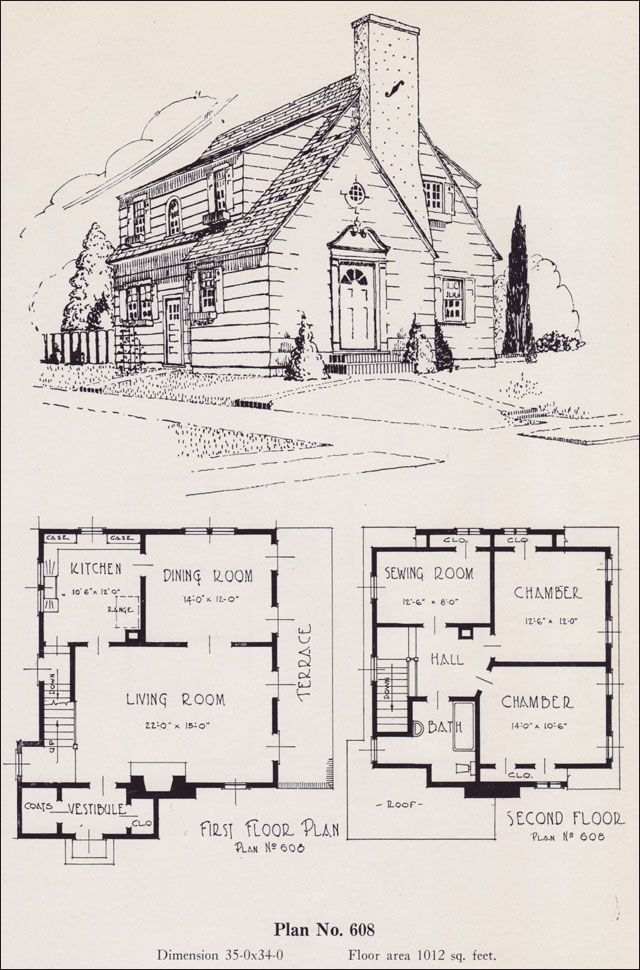 Modernize colonial 1926 universal plan service no 608 for Universal design floor plans