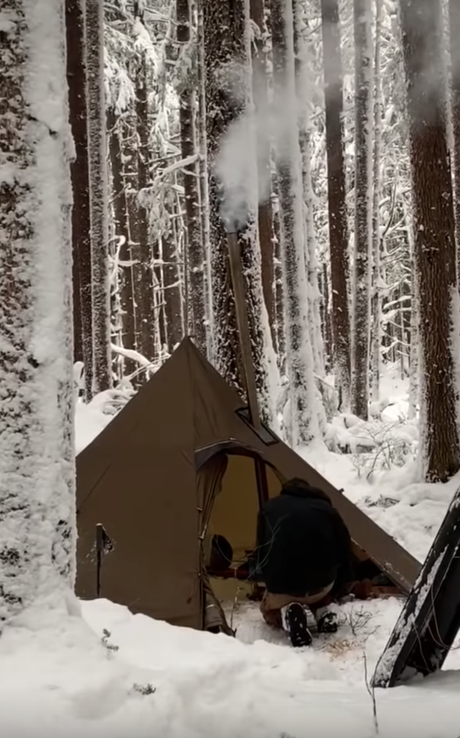 Winter Camping Ghost Forest Wood Stove Tent Video | Tent ...