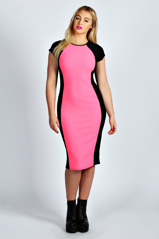 Mary Neon Contrast Panel Midi Dress at boohoo.com | Fashion | Pinterest