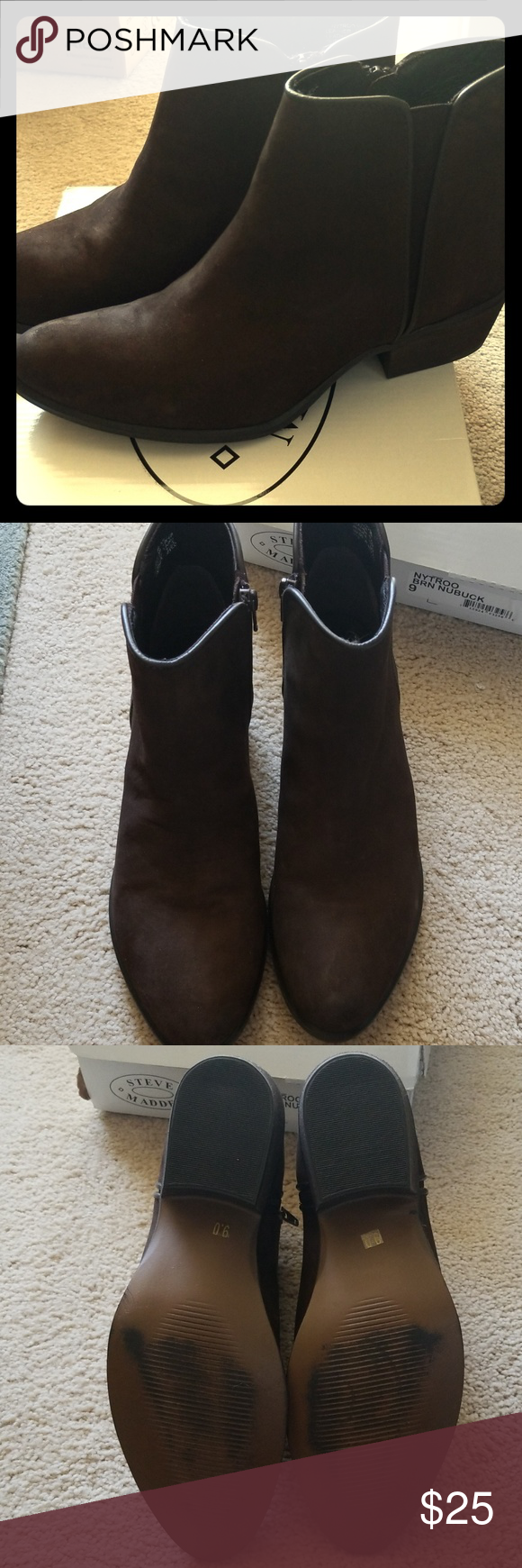 c13a3afce35 Booties Nytroo brown nubuck booties. Worn only indoors. Steve Madden Shoes  Ankle Boots