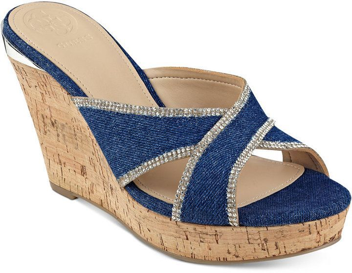 55fb737ab88 GUESS Eleonora Platform Wedge Slide Sandals Women s Shoes