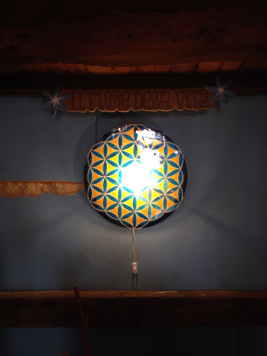 Realizzato con il plexiglas,colorato e retroilluminato .Commissionato dal negozio Il Fiore della Vita di Verona.