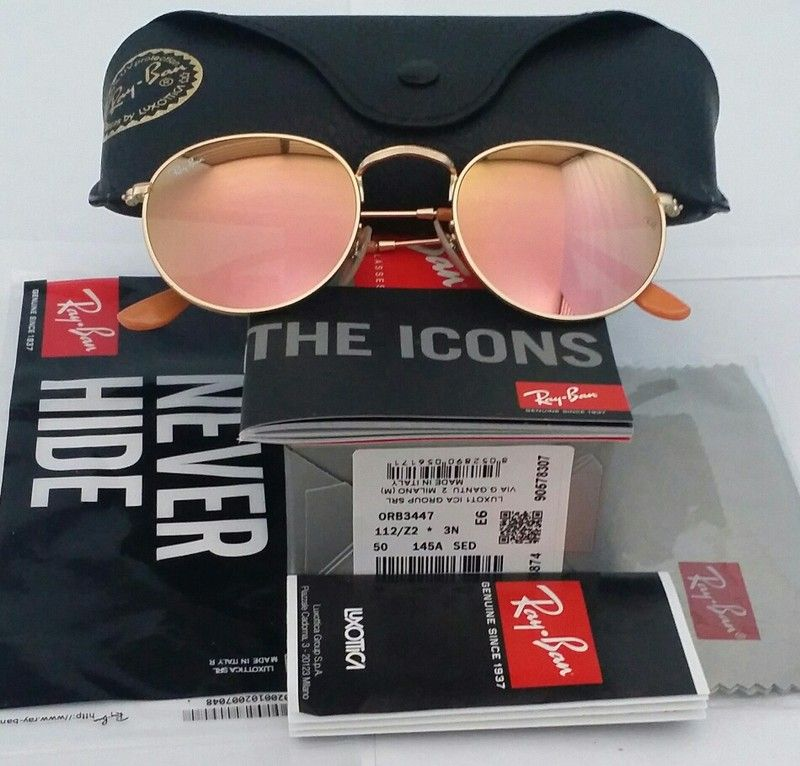 Weekend Sale Only! Authentic Ray-Ban Round Rose Gold Mirrored / Gold ...