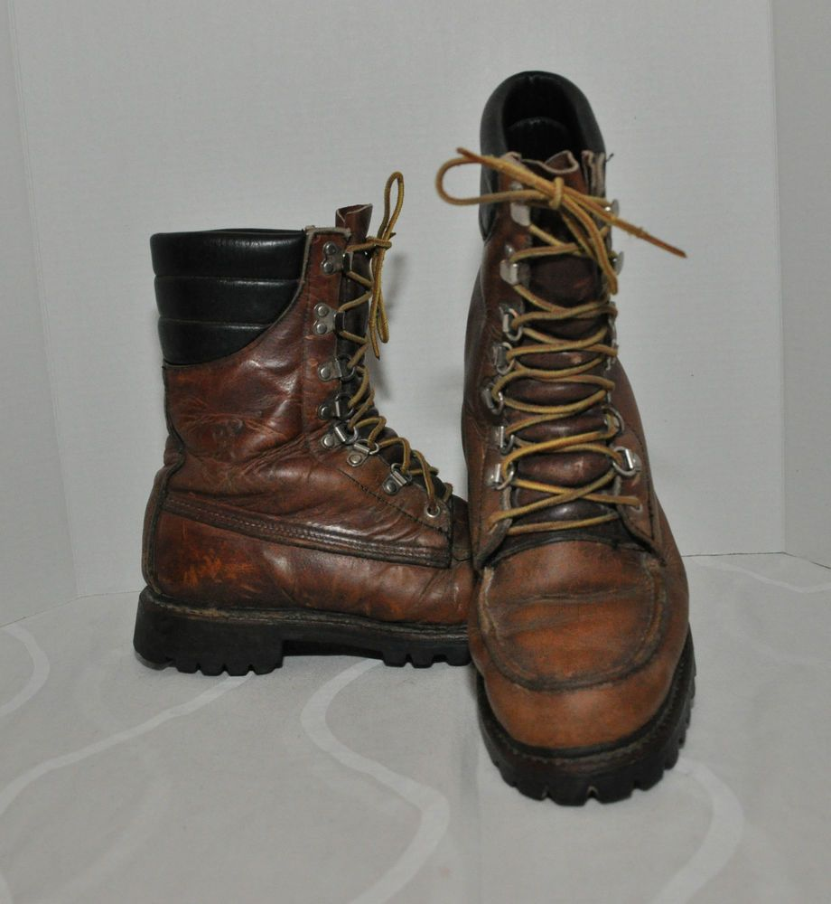 88dbd8a46e5 Vintage Browning RARE Brown Leather Hunting Work Boots Men's Size ...