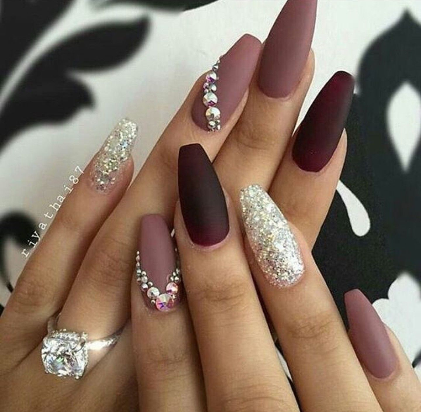 Purple gorgeous diamond nail design for Party in 2020
