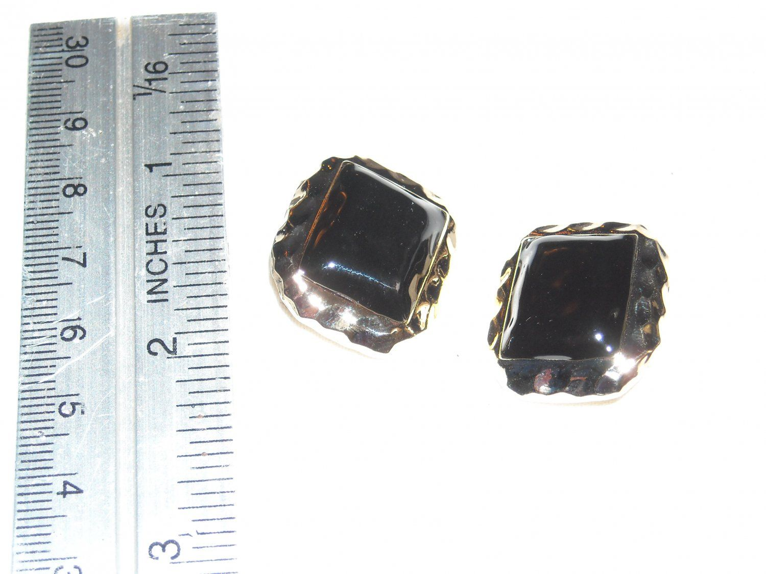 2 Square Black Center Buttons With Gold Outer Tone ~ for sale at Wenzel Thrifty Nickel eCRATER store