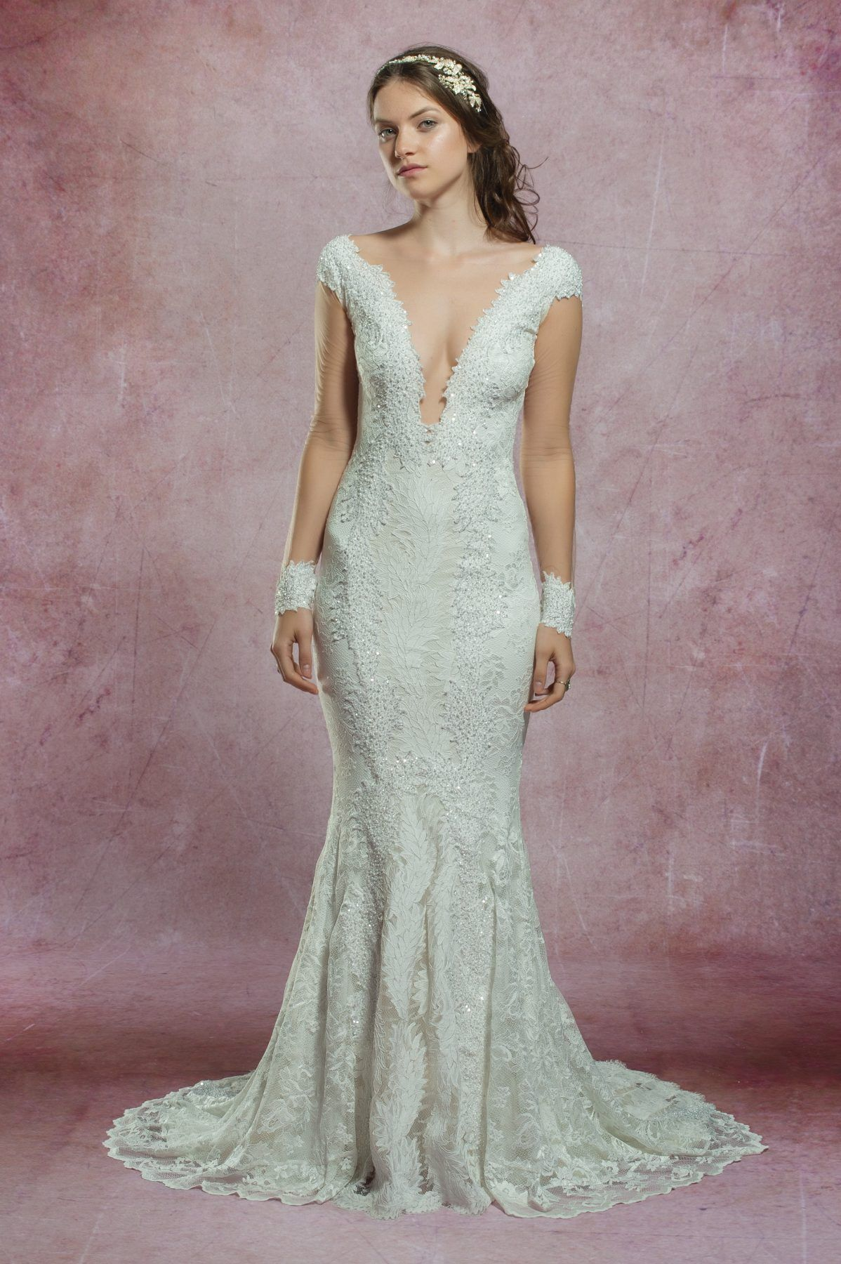 Long sleeve v neck wedding dress  Illusion long sleeve Vneck lace fit and flare wedding dress