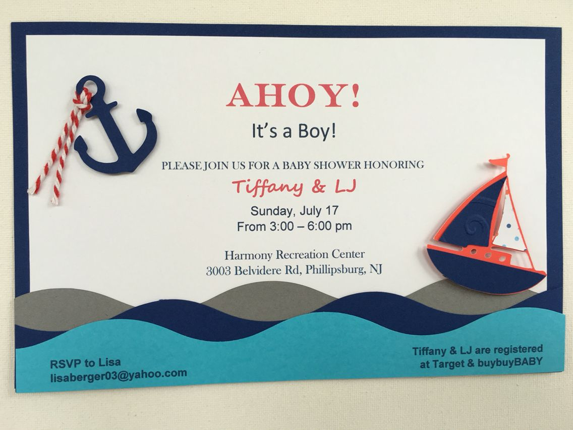 Ahoy Its A Boy Baby Shower Invitation Sailboat Anchor Cricut